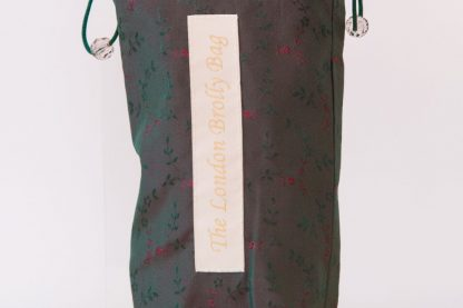 Red and green embroidered brolly bag